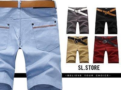 SL Store【SC85711】日韓百搭素色口袋滾皮邊休閒短褲‧5色/S/M/L/XL/2XL