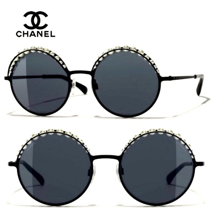 CHANEL香奈兒►(金屬黑色框×經典珍珠×深煙灰色鏡片)圓框框型  太陽眼鏡 墨鏡|100%全新正品|特價!