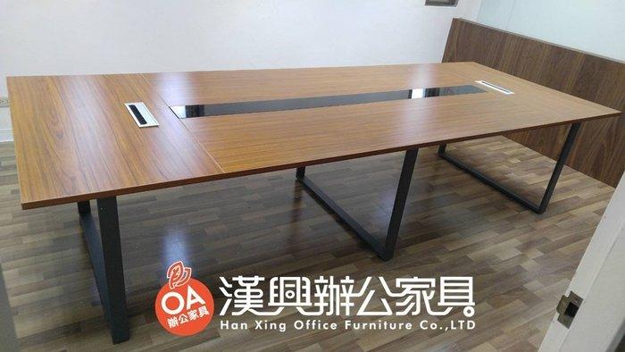 【土城OA辦公家具  】工業風新款大型會議桌  中間還有玻璃蓋線槽 21500元