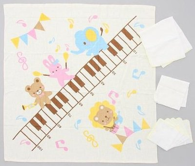 尼德斯Nydus 日本正版 baby 嬰兒用品 浴巾 包巾 身高尺浴巾100x100cm 另附3條紗布巾