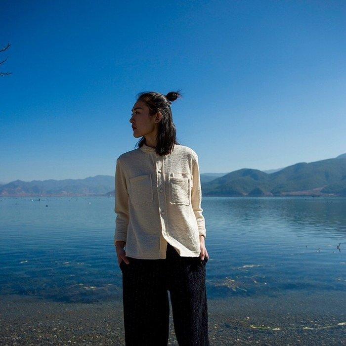 [U'NIDO]原創手作 日常隨心百搭針織襯衫上衣-米白色/ 天然純棉/ 時尚簡約/ 日常白搭 / 自在舒適/ 暖心禮物