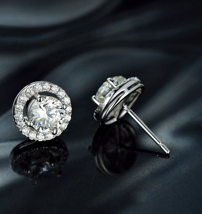 各種耳針式耳環鑽石耳環1克拉鑲邊型舒適 不過敏 結婚 情人節禮物截圖訂做款式鑽石高仿真鑽石925純銀包白金首飾 莫桑鑽寶