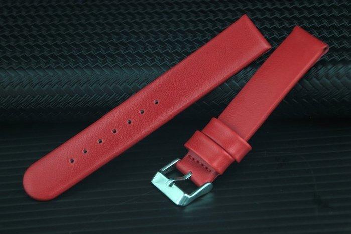 18mm現代感平面直身錶帶,不鏽鋼錶扣~紅色,背面PU防水皮適合搭配造型表