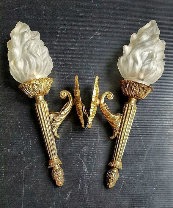 【波賽頓-歐洲古董拍賣】歐洲/西洋古董法國古董 拿破崙16世風格 鍍金青銅玻璃火炬(把)壁燈/燭台一對1燈(高度:34cm)