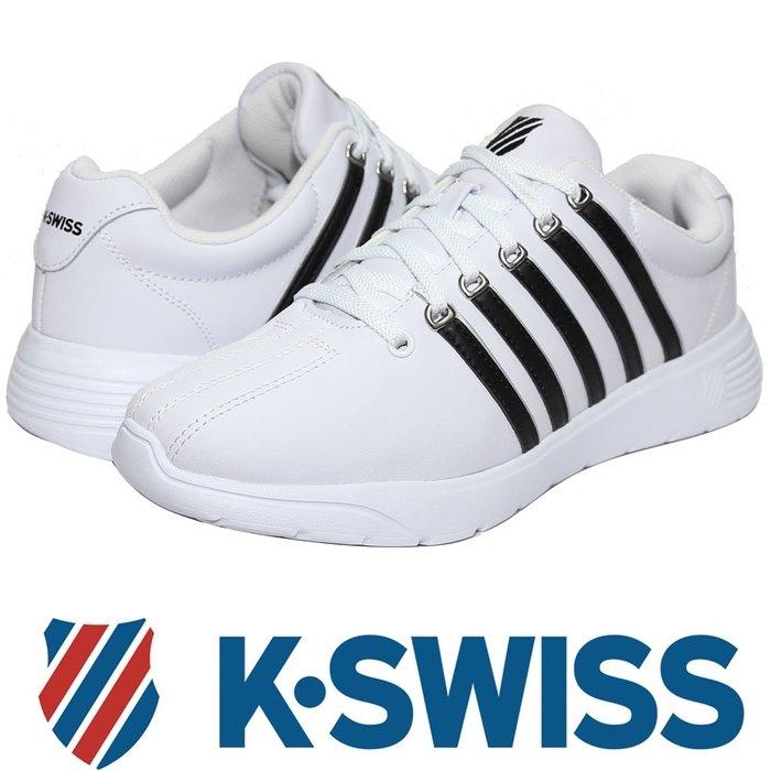 鞋大王K-SWISS 05914-156 白×黑 皮質3D輕量鞋底休閒運動鞋,有13號【免運費,加贈鞋油和襪子】721K
