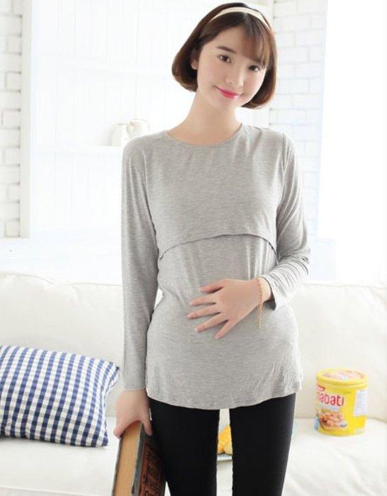 幸福孕婦裝✨【J13064】經典素色長袖棉質交叉哺乳上衣 產前產後皆宜 孕婦裝 顏色多款