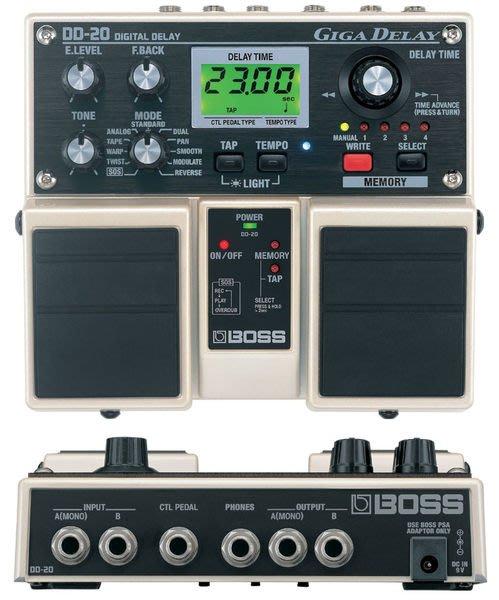 【六絃樂器】全新 Boss DD-20 Digital Delay 數位延遲音效果器 / 現貨特價