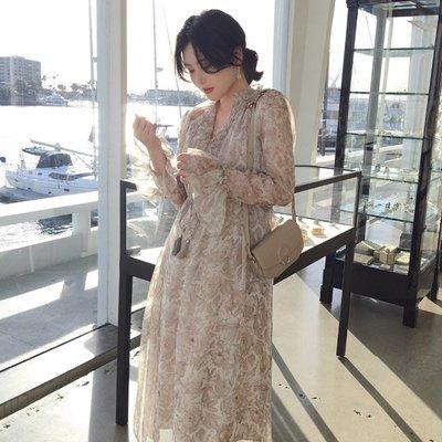 ACHIC┼(期限特價)訂製款歐式印花 度假 名媛 沙灘 西西里 寬鬆花邊連身飄逸長裙~清透裸色