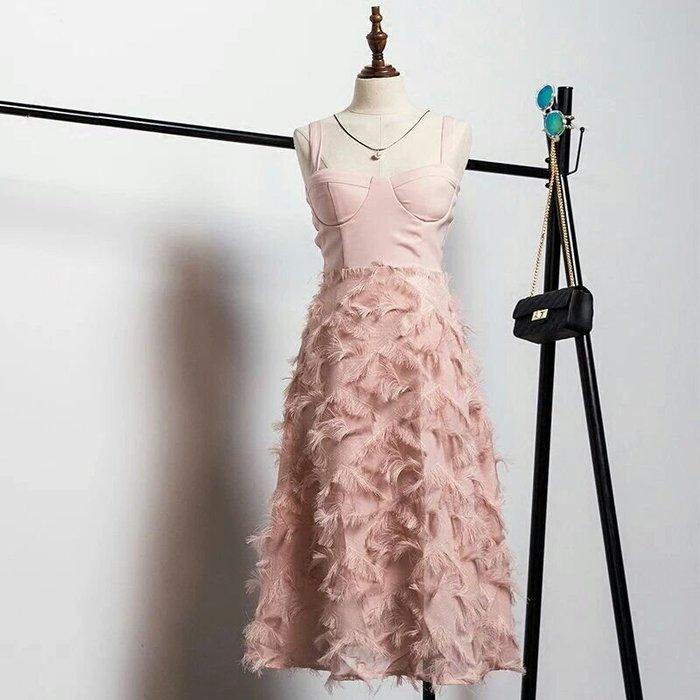 天使佳人婚紗禮服旗袍~~~吊帶小香風羽毛裙連衣裙