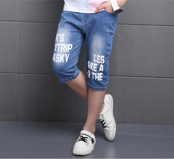 日韓歐美♥韓版 中大男童 夏季英文字母五分牛仔短褲 破洞時尚個性款 休閒短褲 【E697】