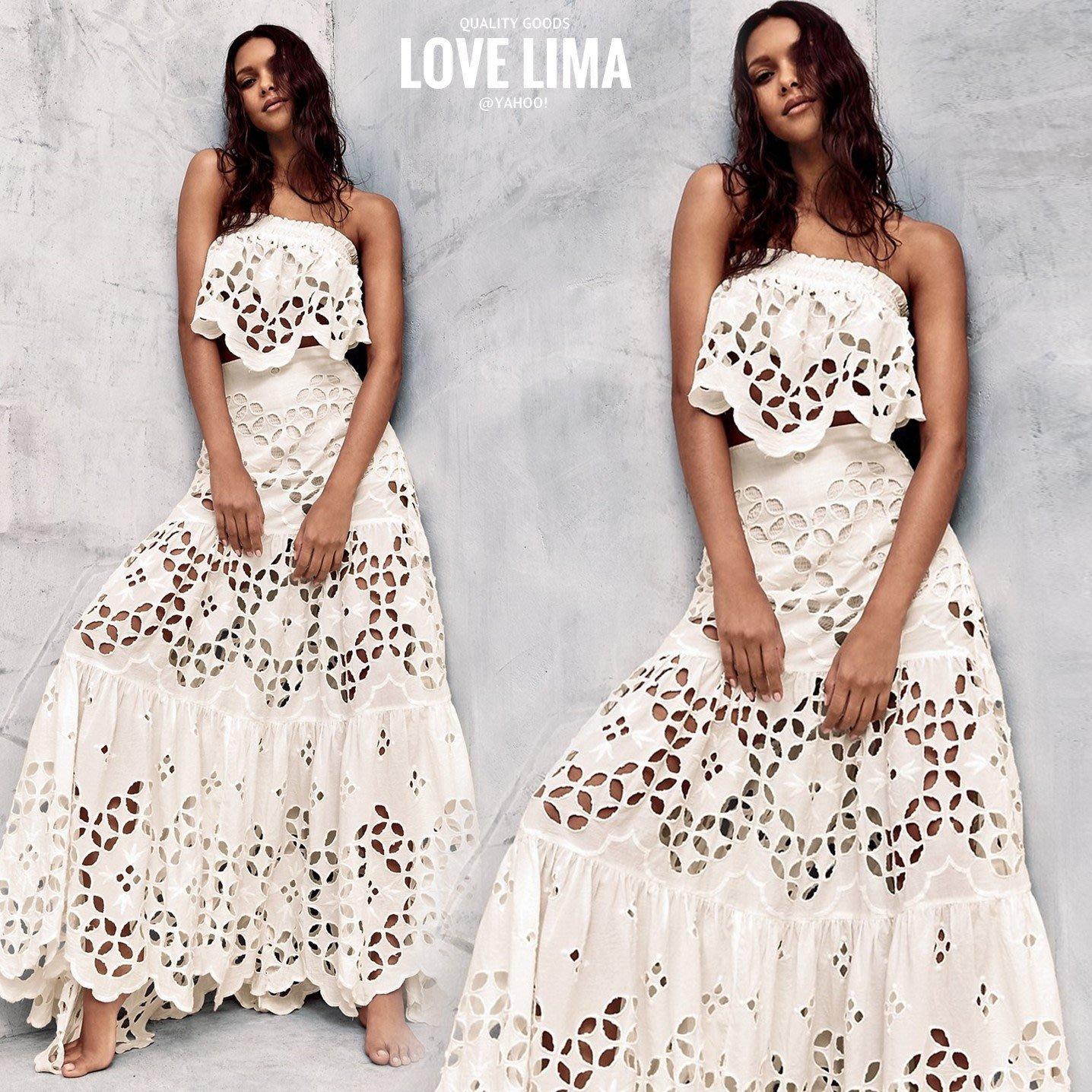 【Love Lima 】美國設計師 淺藍紫色/黑色 平口蕾絲雕花透視荷葉長裙 套裝 長洋裝 禮服