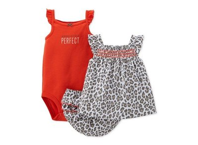 【Carters 卡特】Carter's 美國正品 豹紋無袖背心上衣+短褲+包屁連身衣三件組套裝 USA美國精品時尚小舖