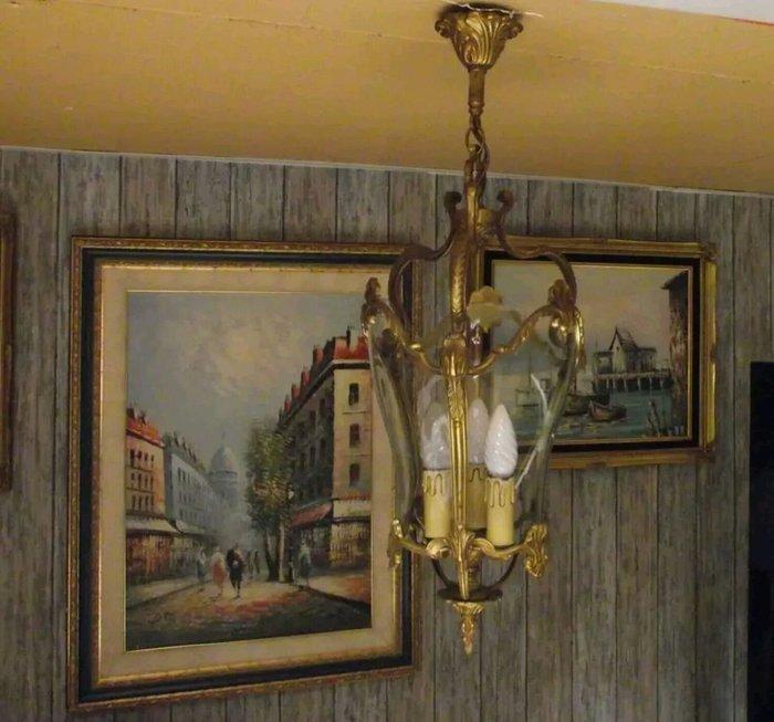 【波賽頓-歐洲古董拍賣】歐洲/西洋古董 法國古董路易十五風格 黃銅曲面玻璃燈籠吊燈/燭台 3燈(高度:66公分)(已售)