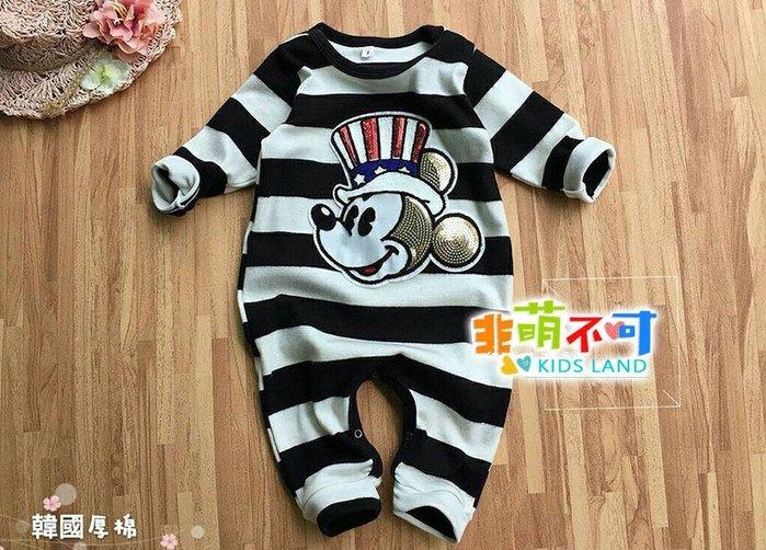 非萌不可長袖童裝-黑白條大頭可愛鼠~嬰兒寶寶厚棉連身包屁衣/四腳爬服