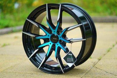 ╭☆輪鋪☆╯全新 (ADV-50) 17吋5孔100/5孔114.3/5孔108 黑車面套藍鋁圈