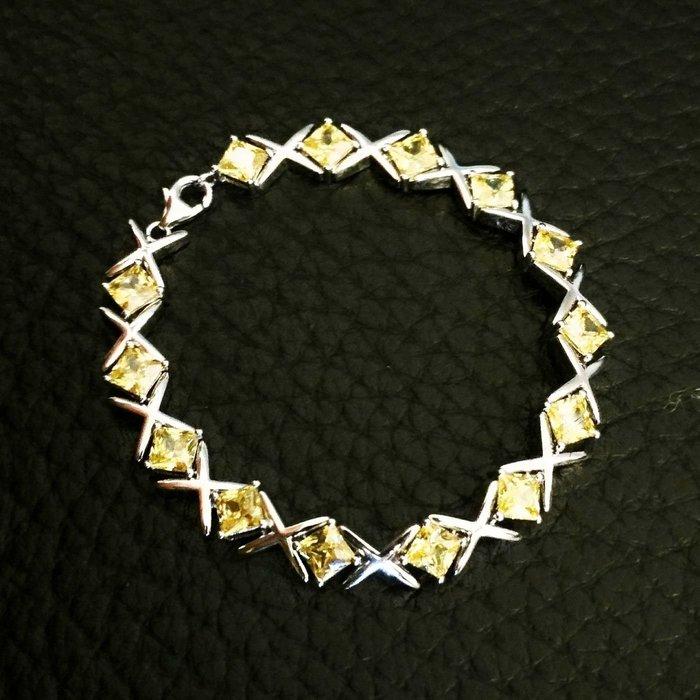 男女手鏈特製流行黃鑽方鑽一公分寬0.8克拉19公分特價出清精緻仿真鑽不退色肉眼看不出來真鑽鉑金質感925銀鍍白金ZB鑽寶