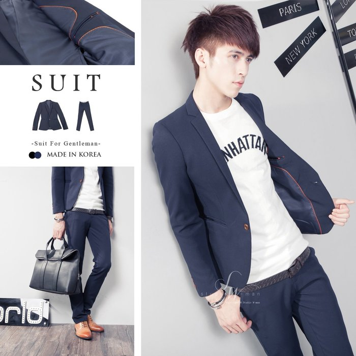 。SW。【K31146】免運 正韓 韓國製 修身顯瘦 質感 硬挺彈性西裝布 木扣 窄版 雅痞紳士 藍黑素面 西裝外套區