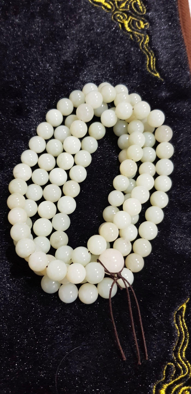 和田羊脂青白玉珠子9m108顆(特價優惠期間)