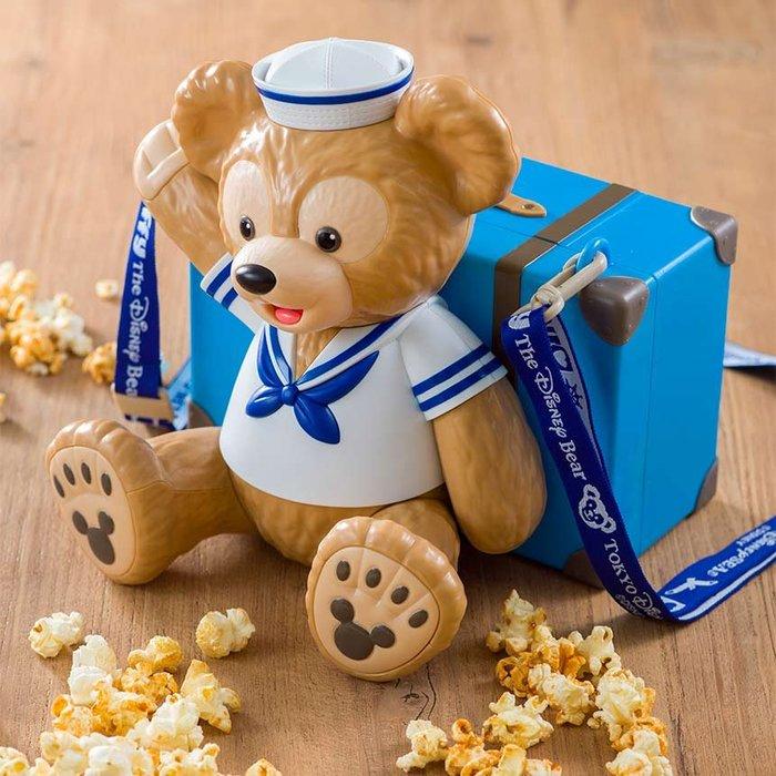 Miss莎卡娜代購【東京海洋迪士尼】﹝預購﹞旅行郊遊去 Duffy 達菲熊 藍色行李箱 造型爆米花桶 斜背帶小物收納桶