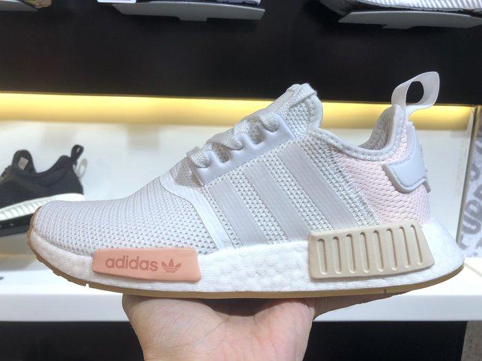 Washoes 女款08 adidas NMD_R1 白 粉色 櫻花 粉紅色 BC0237 女鞋 慢跑鞋 BOOST