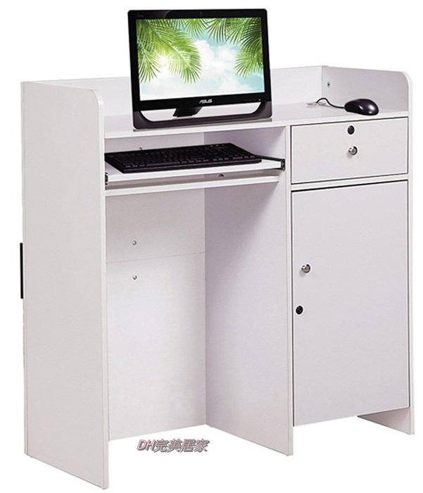 【DH】商品貨號N899-3商品名稱 《海島》3.3尺白色多功能桌,可作收銀檯,接待櫃台,代客泊車接待櫃