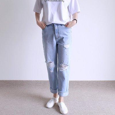 girlmonster 正韓 顯瘦復古高腰顯瘦牛仔破褲   【A0225】