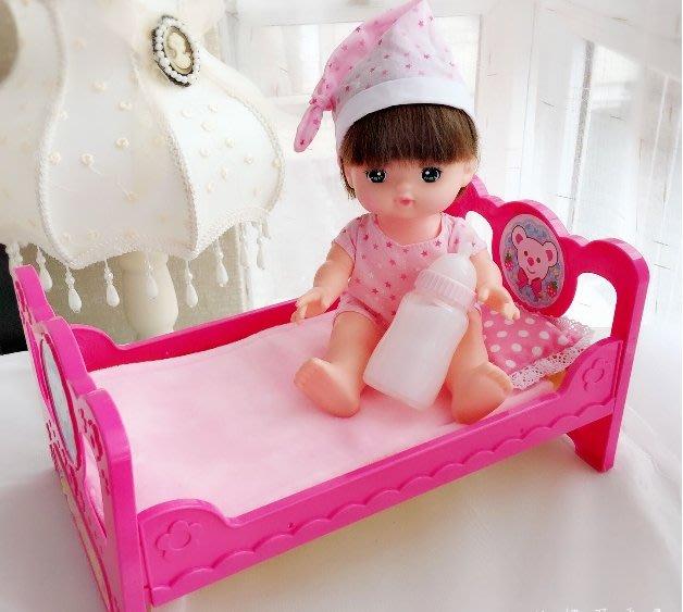 【小黑妞】小美樂巧虎小花等30cm以下娃娃可睡覺床-小美樂粉紅小熊造型床睡床(床墊另購)【現貨】