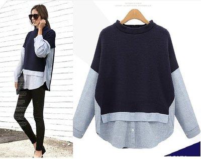 GOGO SHOP☆╭歐美大尺碼 時尚撞色假兩件式襯衫 針織衫【Y1665】XL~5XL大尺碼襯衫 上衣