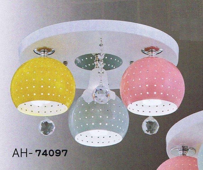 【昶玖照明LED】吸頂燈系列 E27 LED 居家臥室 客廳陽台 書房玄關餐廳 鐵材烤漆 水晶 3燈 AH-74097