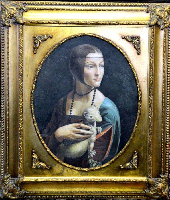【波賽頓-歐洲古董拍賣】歐洲/西洋古董 意大利古董 19世紀 手繪達文西抱貂的女士人物油畫(尺寸:長73X寬63cm)