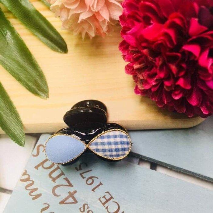 現貨 供應 茉莉 正韓 質感 髮飾 韓國 飾品 兩色 皮革 格紋 抓夾