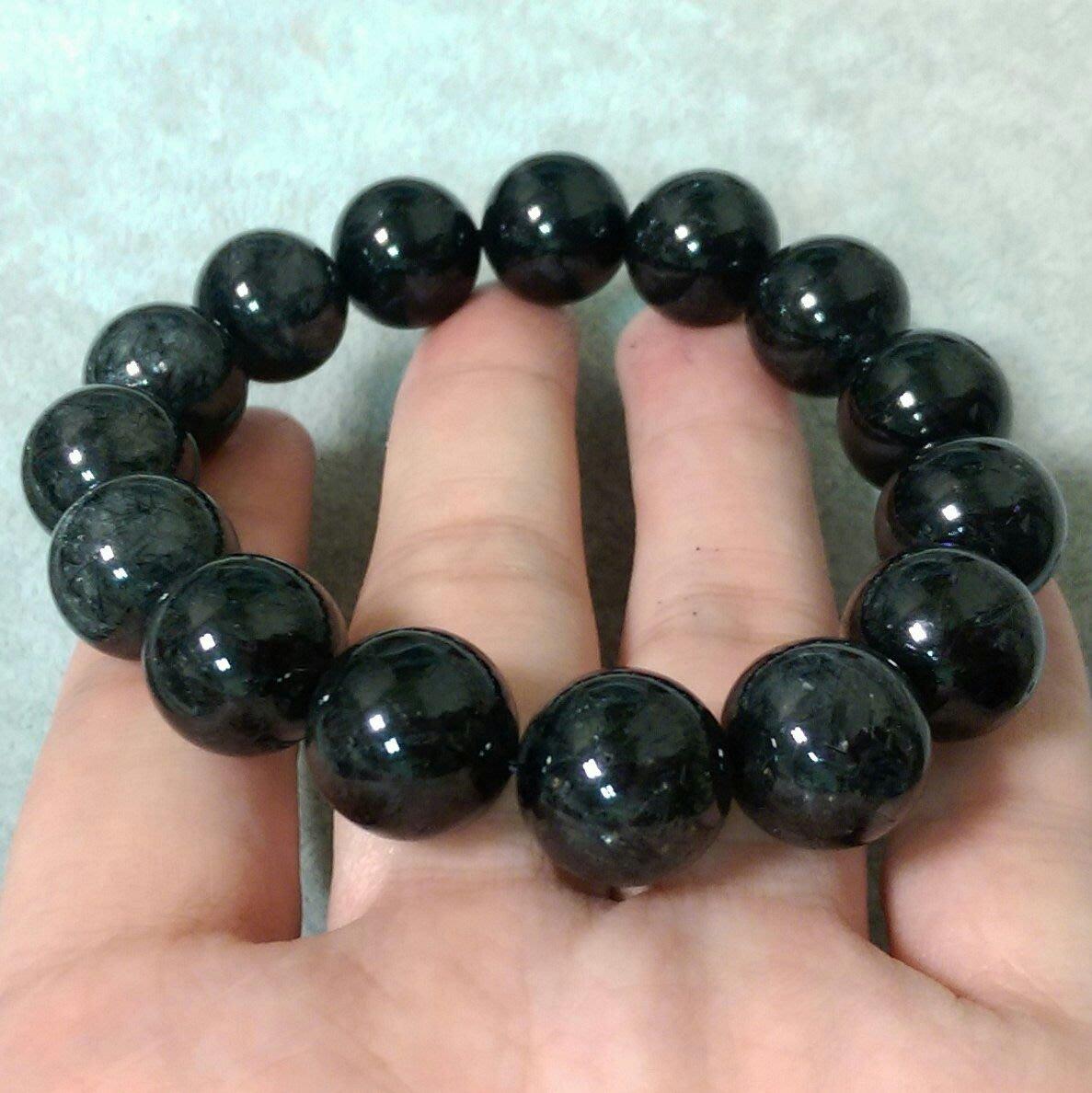 09054 爆絲黑髮水晶 黑髮手珠 黑鈦手珠 35克/11mm 能量強 黑髮水晶手珠