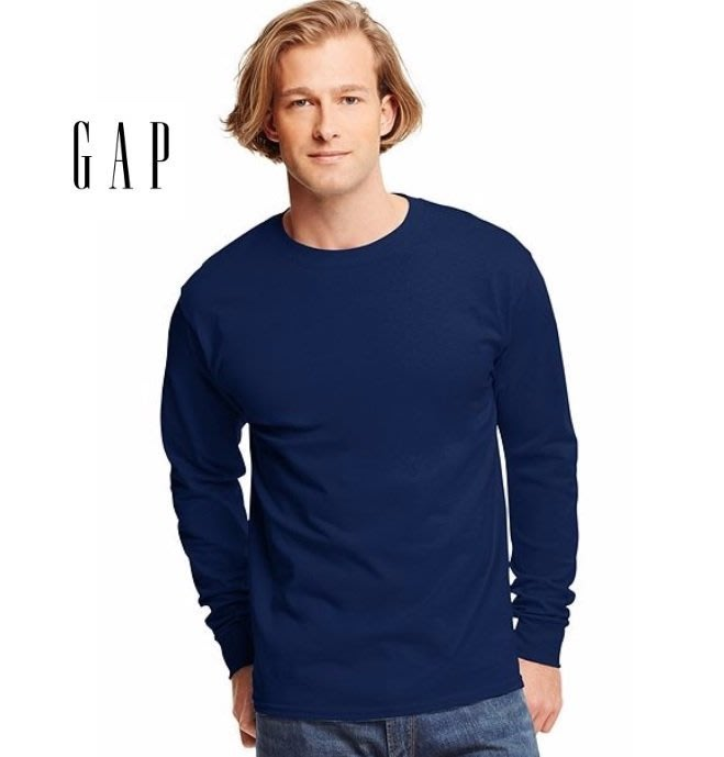 GAP 深藍色  圓領 長袖T恤 素T  現貨 成人 男生