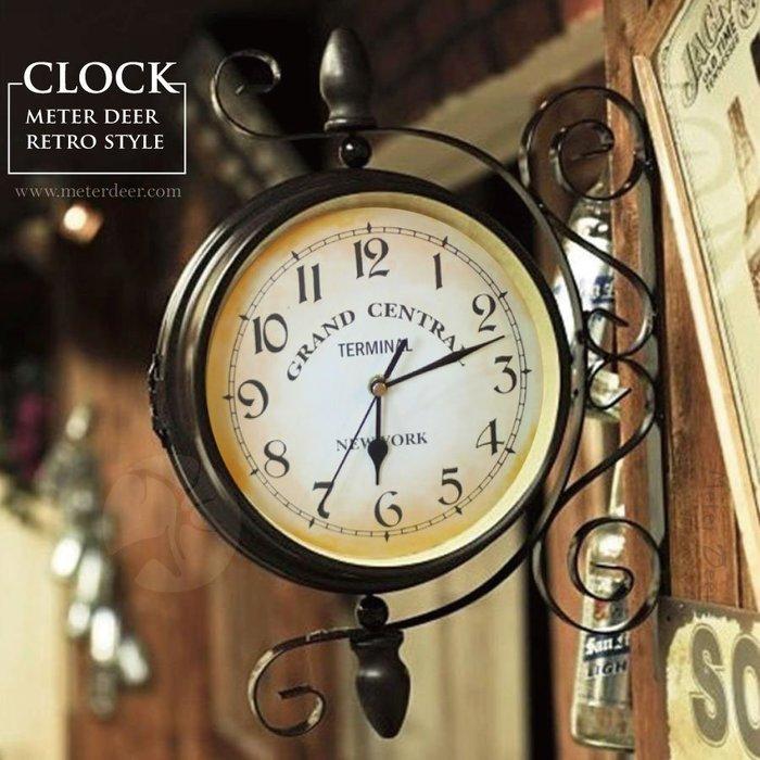 創意時鐘 復古鐵藝雙面掛鐘可旋轉高級超靜音掛鐘 外銷歐式美式鄉村工業風格 店牆面裝飾擺飾 浪漫特色設計壁掛時鐘-米鹿家居