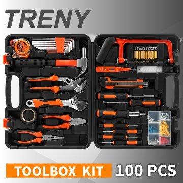 【TRENY直營】100件工具組 修繕工具 附收納盒 手工具 板手 起子 維修 家庭DIY JYS005-1