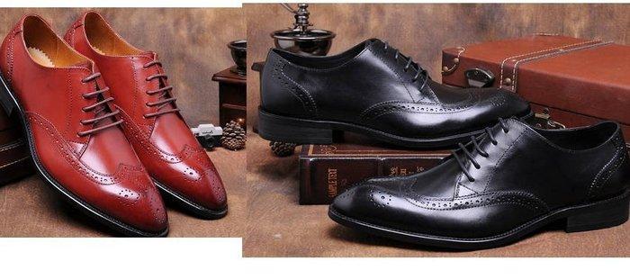 新品男正裝皮鞋牛皮商務皮鞋英倫尖頭系帶皮鞋真皮雕花布洛克鞋