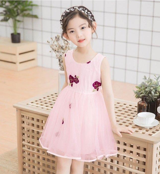 現貨 女童刺繡玫瑰網紗公主洋裝18MM150613