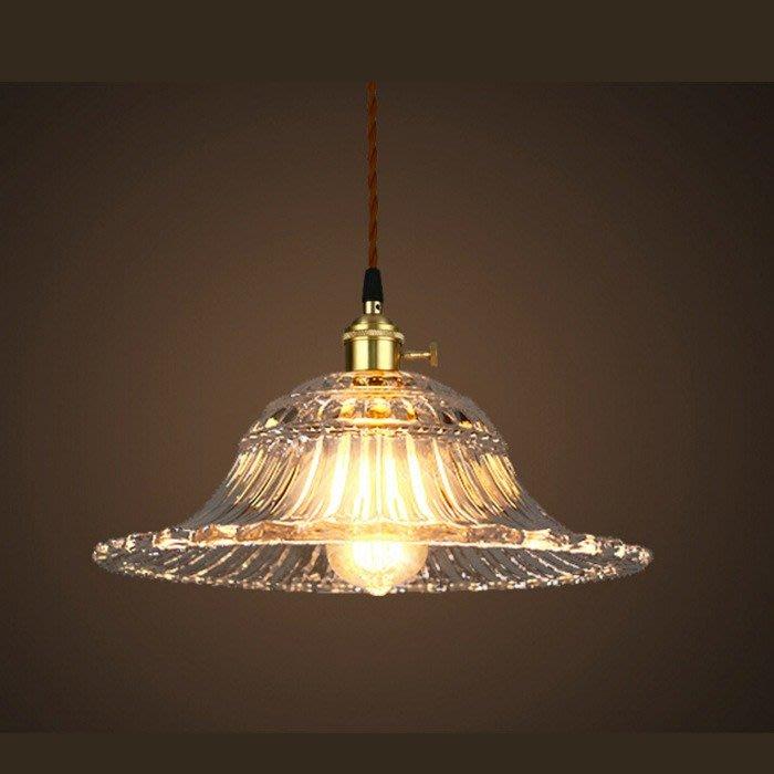 5Cgo【燈藝師】含稅會員有優惠555716644038 復古懷舊水晶飛碟吊燈全銅燈頭燈具 LOFT工業咖啡館玻璃燈燈罩
