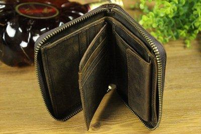『老兵牛仔』LD033歐美簡約多功能瘋馬皮錢包/真皮錢包/復古時尚/彈力/耐拉/個性