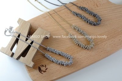 MAIGO ❤️ 現貨 韓國 Korea 巴洛克-串鑽鍊 銀/鎳黑 ( sivir yve 法橘 vacanza 項鍊