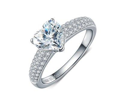 韓版純銀心型戒指 微鑲飾品 主鑽1克拉...