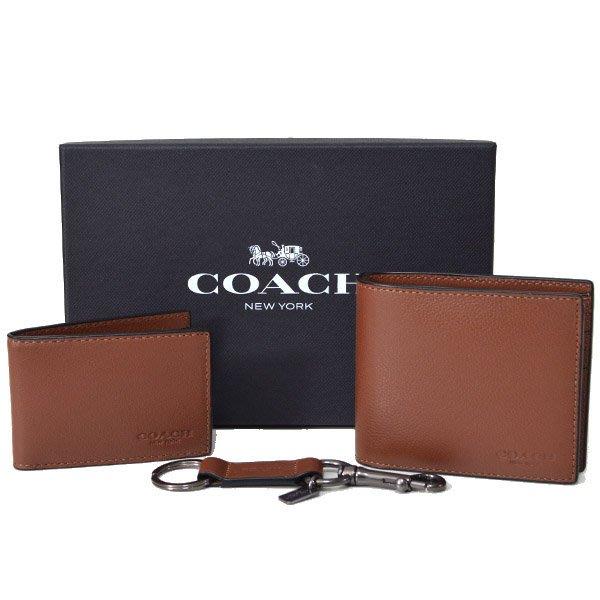 美國百分百【全新真品】Coach 男款 皮夾 64118 咖啡色 短夾 皮包 真皮 鑰匙圈 禮盒 超取 禮物 C867