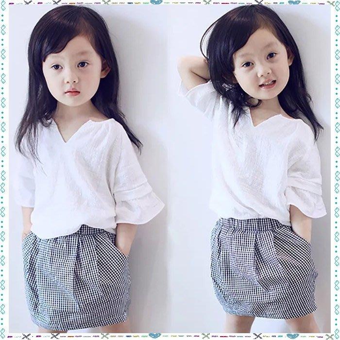 ❤ 大老婆小寶貝❤女童氣質款上衣+黑白格短裙 套裝 (9.11.13.15)
