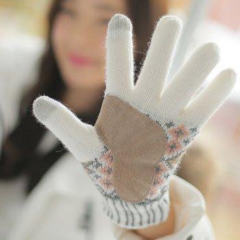 韓國 麂皮防滑 民俗風 超靈敏二指觸控手套 保暖針織手套│米白│z6876