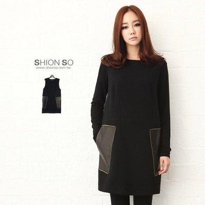 享瘦衣身中大尺碼【B1364】時尚仿皮革無袖毛呢洋裝