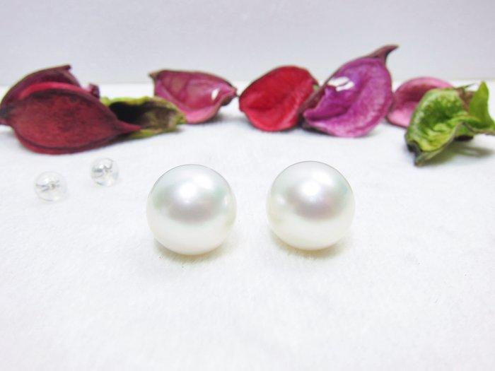 13.3-13.4mm 全美南洋白珍珠18K耳環【元圓珠寶】
