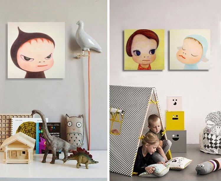 現代客廳沙發背景牆餐廳掛畫壁畫無框畫裝飾畫奈良美智夢遊娃娃(5款可選)