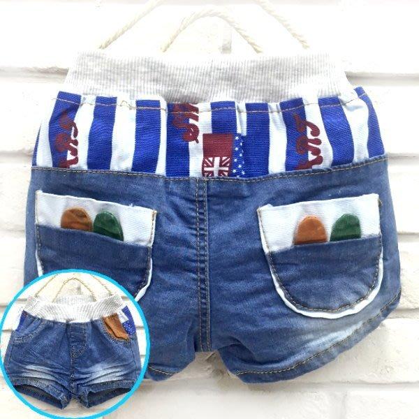 【班比納精品童裝】超彈力藍白條紋小耳朵口袋牛仔短褲/熱褲-藍【BB160220006】