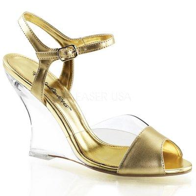 Shoes InStyle《四吋》美國品牌 FABULICIOUS 原廠正品透明金屬質感楔型高跟涼鞋 出清『金色』