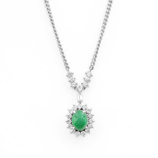 【JHT 金宏總珠寶/GIA鑽石專賣】天然翡翠鑽石項鍊/材質:PT850/附證書(JB23-A018)
